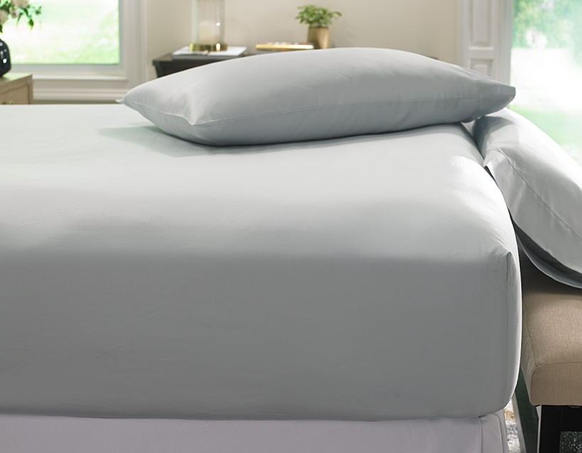 Grey Hemstitch Fitted Sheet